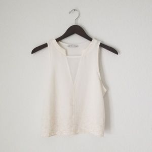 Zara white crop top with ombre geometric design